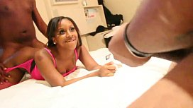 FREAKY Ebony teen has nasty threesome