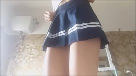 WONDERFUL! SEXY TOILET INCIDENT! this schoolgirl loves to pee! white socks and short skirt. spy her!