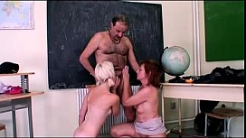 Granny and student get fucked in the classroom