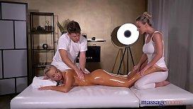 Massage Rooms Oil soaked sensual blonde Czech FFM threesome - xxx gonzo movies