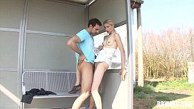 Skinny german whore gets fucked outdoors