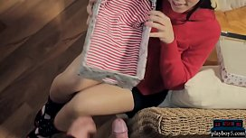 Young couple caught by her MILF stepmom who joins in