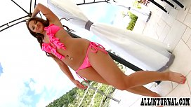 Hot brunette is filled with cum on the terrace