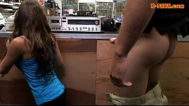 Babe selling her vinyl and gets pounded at the pa op