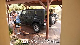 id 33308061: SpyFam Car wash flirtation turns into fuck with step sister Ashly Anderson