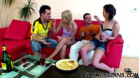 TWO EURO COUPLES FUCKING AT HOME !!