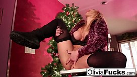 Christmas masturbation with busty blonde Olivia