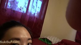 FACE SOAKED IN CUM Brutal throatfuck for asian girl in her pajamas POV