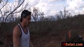 Pair of stiff cocks for African teen outdoorsditass
