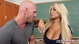 Horny Teacher Bridgette B fucks her student at school