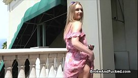 Perky teen flashes then blows