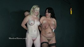 Two amateur slaves tit tortured and cruel domination of blonde submissive A
