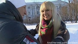A cute Russian babe seduced fucked and gets a cumshot in mouth