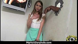 Ebony teen cleaning all the cocks at gloryhole 18