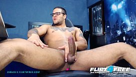 Dirian C - Flirt4Free - Sexy Beefy Latino w Big Cock Grinds on His OhMiBod