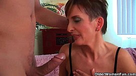 Soccer mom in black stockings gets drilled hard