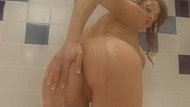 Perfect hairy babe masturbation in the shower