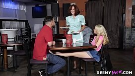 College couple fuck in a diner with the mature waitress # Jane Wilde and Andy James