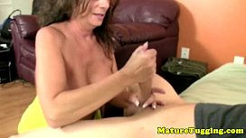 Brunette cougar mom jerking off hard cock xnxx image