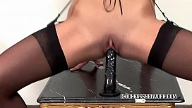 Cute coed Olivia takes on two cocks