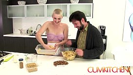 CUM KITCHEN: Shaved blonde big booty babe Riley Nixon Rides Cock and Bakes a Pie