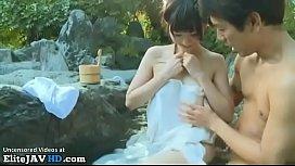 Japanese babe has sex outdoor with random man