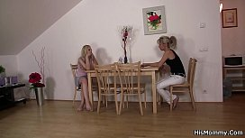 Blonde teen and lesbian mom caught fucking