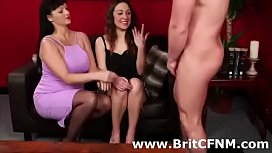 Older British femdom woman shows babe how to dominate amateur CFNM guy