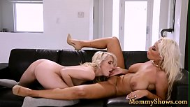 Hugetits stepmom scissoring with young pussy