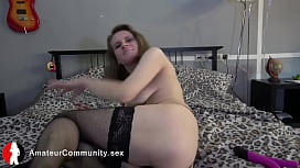 Busty amateur mature toying herself