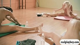 Big boobs i uctor and two brunettes yoga while naked