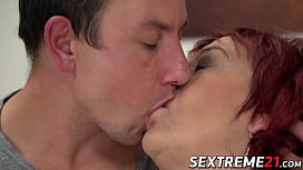 Redhead GILF Marsha in lingerie penetrated after blowjob