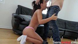 Attractive Brunette Teen Sucks Cock and Ass Fucked