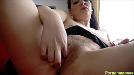 Nasty girl with hairy pussy rides dildo