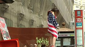 Hairy American tourist banged in bdsm bar