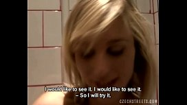 Blonde Girl Fisting Pussy in Toilets Room