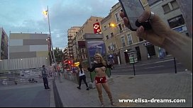 Flashing my huge tits in public in the streets of Barcelona image