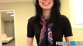 PropertySex - Beautiful brunette real estate agent home office sex video