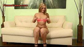 Curvy Blonde Shakes It In Heels