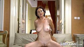 Busty Granny Riding a Big Hard Cock Really Hard