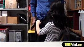 Flat chested brunette shoplifter cutie gets punished