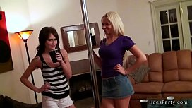 Blonde and brunette fucking at party