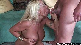 Busty blonde milf feasts on creamy cumshot