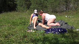 Fat lesbian with a strapon fucked girlfriend outdoors. Juicy booty and hairy pussy doggystyle. Fetish.
