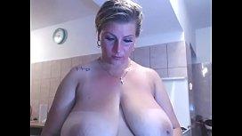Mom showing big tits on webcam