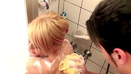 German Step-Mom help s. in Shower and Seduce to Fuck