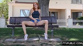 Teen redhead public tease