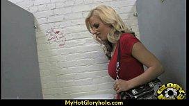Ebony Hottie Milking Cocks in the Gloryhole 12