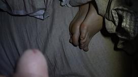 cum on sleeping chinese gf feet