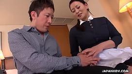 Japanese maid, Rei Kitajima fucks a horny hotel guest, uncensored